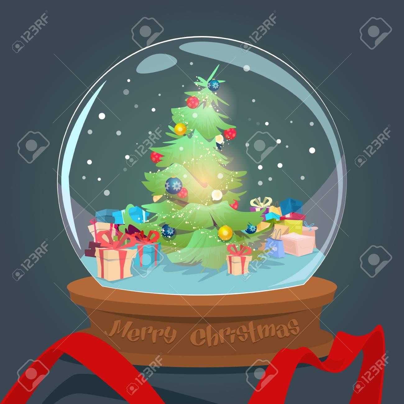 Weihnachtsgrüner Baum Mit Geschenkbox-Wunsch-Glasball-Gruß-Karte ...