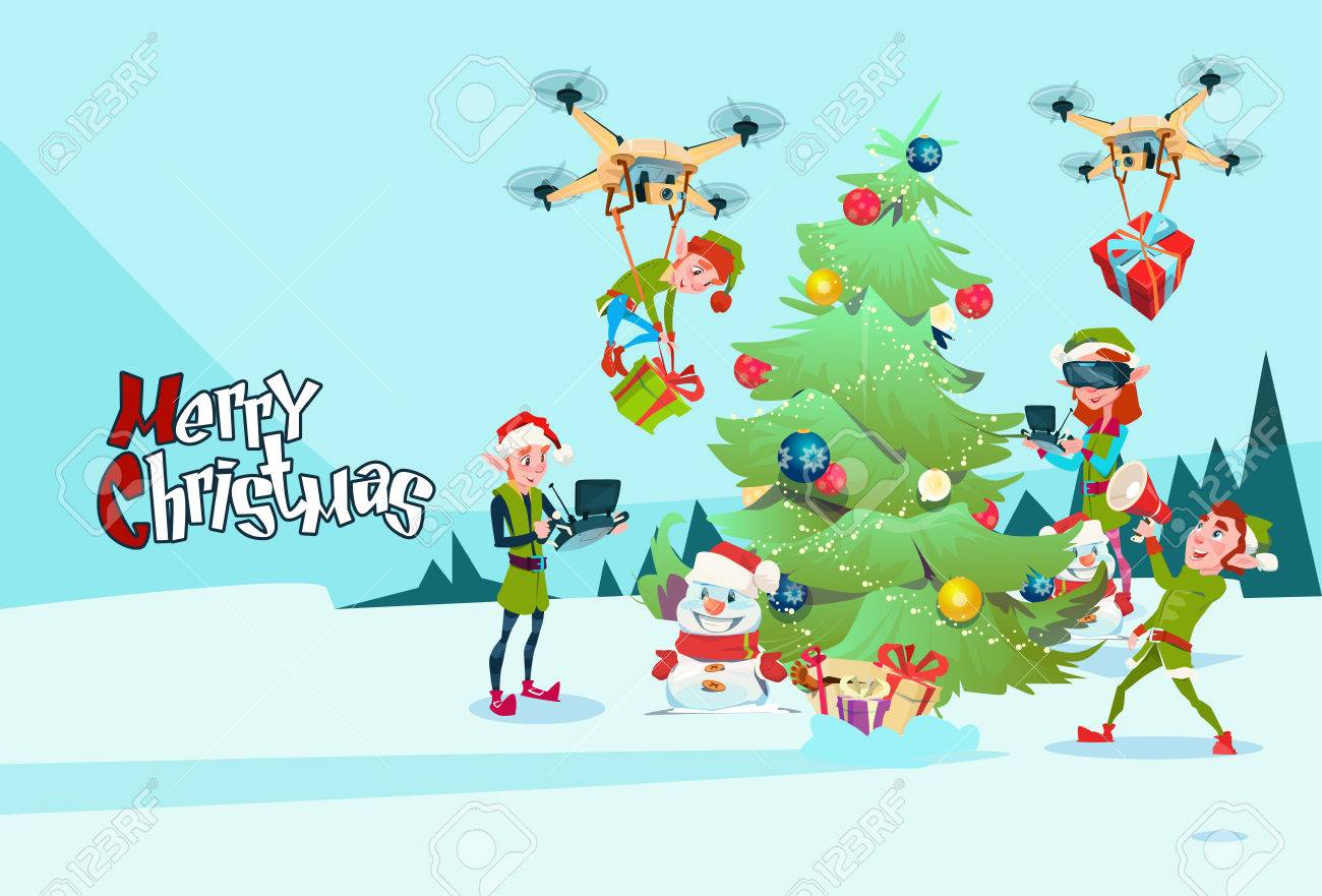 Green elf group decoration christmas tree with drone wear virtual reality  glasses new year greeting card 82d7d33a5