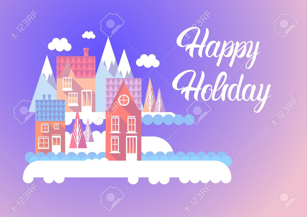 City happy new year merry christmas holiday greeting card banner city happy new year merry christmas holiday greeting card banner flat vector illustration stock vector kristyandbryce Gallery