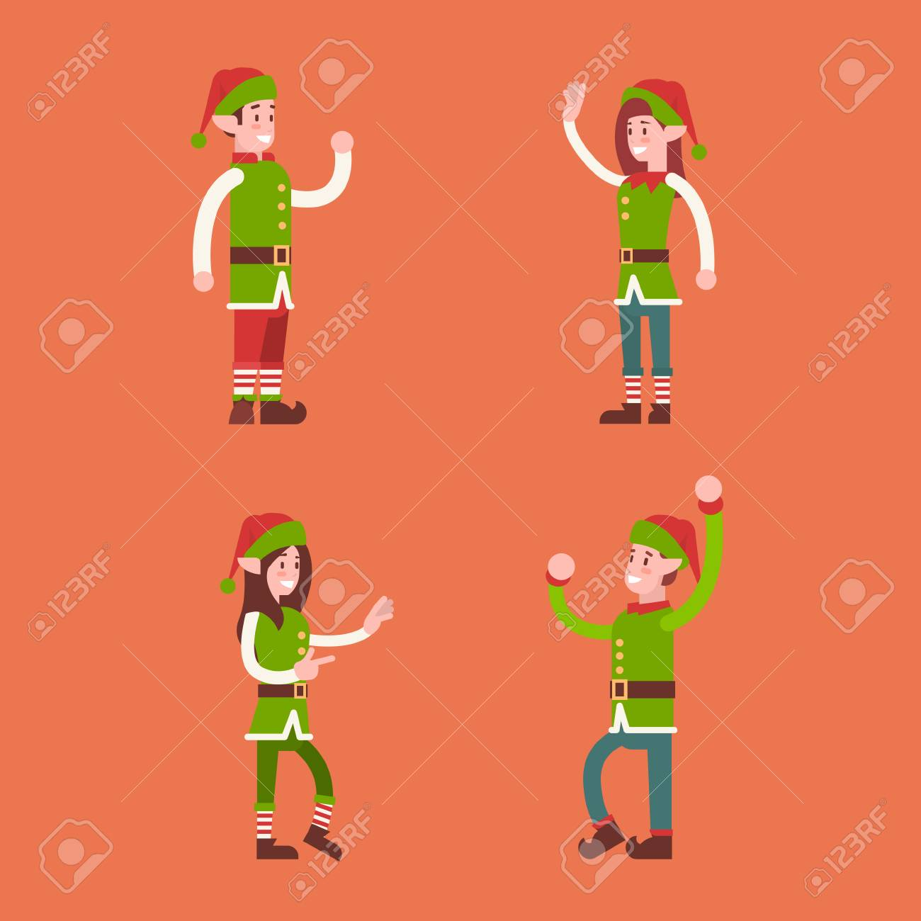 Christmas elf group cartoon character santa helper set flat vector  illustration stock vector jpg 1300x1300 Christmas b9d5d1b90