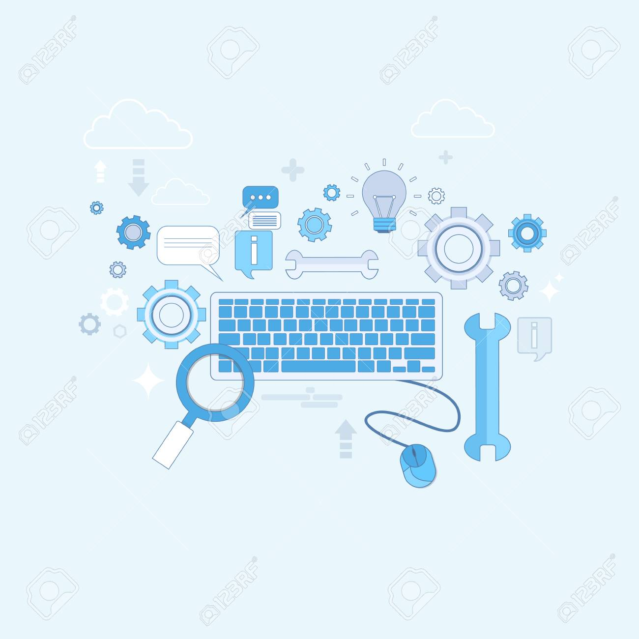 Computer Keyboard Mouse Banner Thin Line Vector Illustration Royalty Free Cliparts Vectors And Stock Illustration Image 67467306