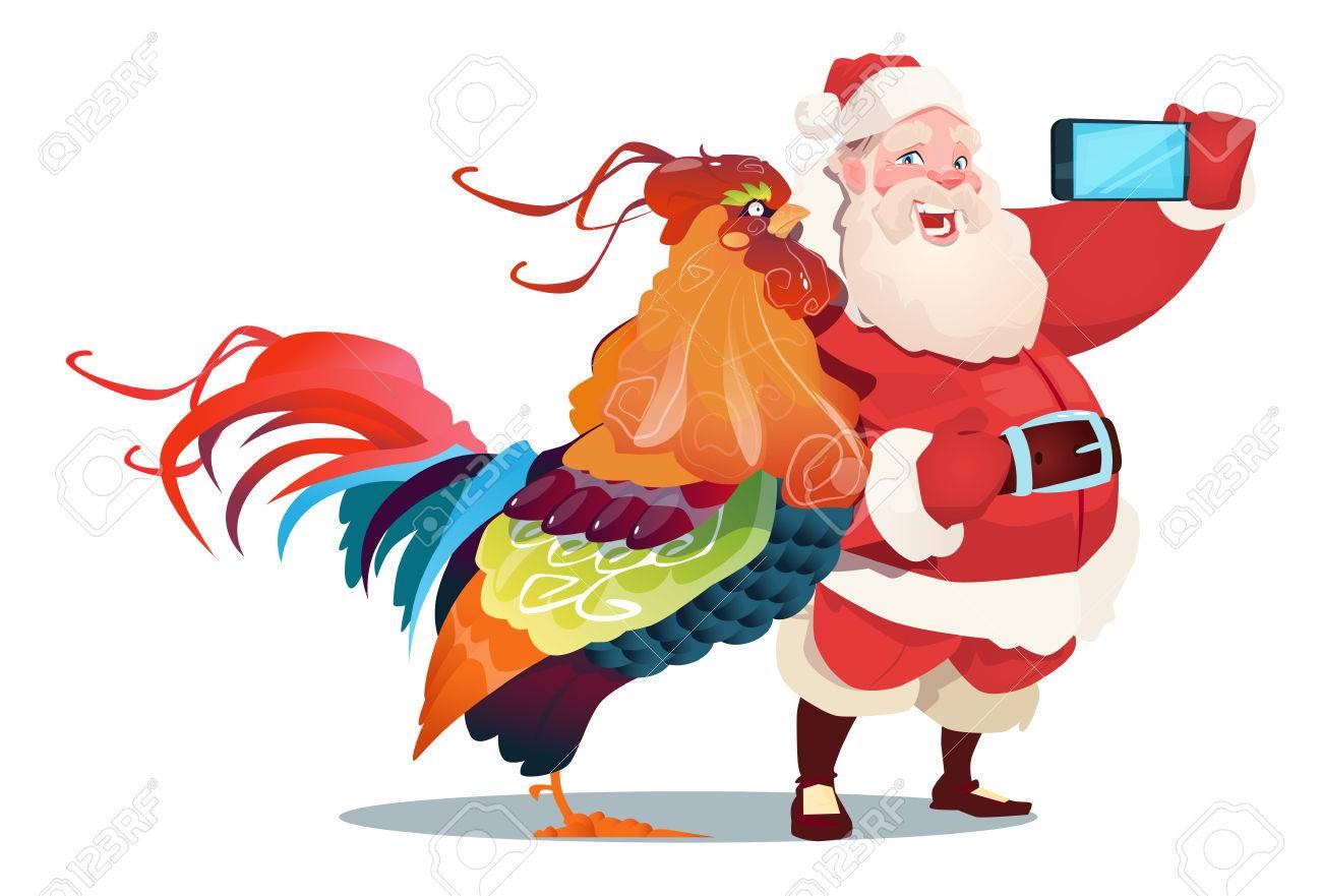 Dessin Animé Coq Et Père Noël Faisant Selfie Photo Sur Téléphone Intelligent Heureux Nouvel An 2017 Illustration Vectorielle Plat