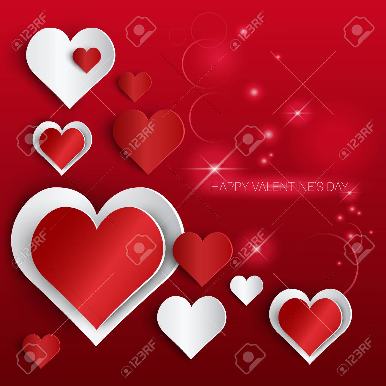 Valentine Day Gift Card Holiday Love Heart Shape Banner With