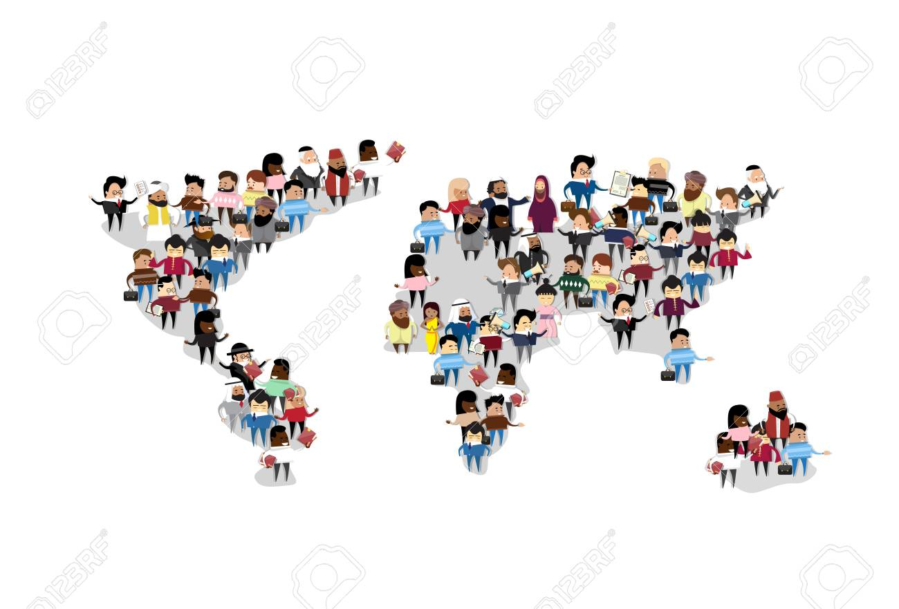 Grupo de personas crowd world map comunicacin internacional flat foto de archivo grupo de personas crowd world map comunicacin internacional flat illustration gumiabroncs Images