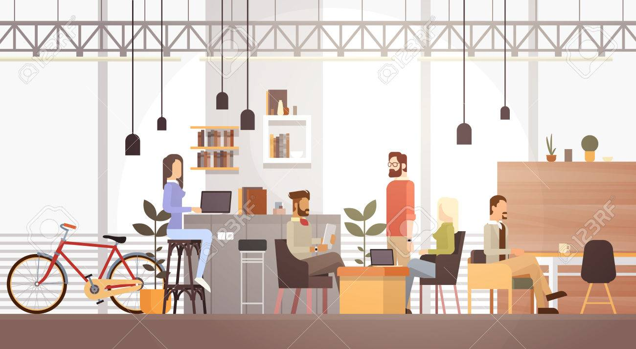 People In Creative Office Co-working Center University Campus Modern Workplace Interior Flat Vector Illustration - 71718754