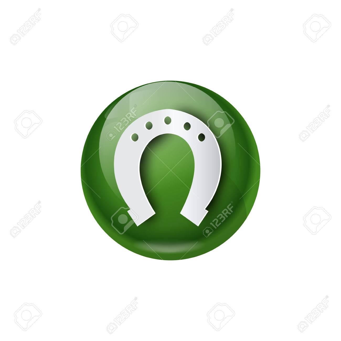 Green Horseshoe Icon Good Luck Symbol Flat Vector Illustration