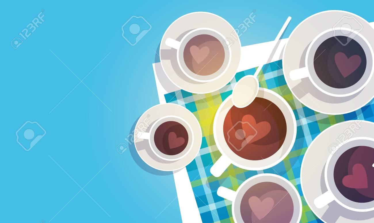Kaffeetasse Pause Frühstück Getränk-Getränke Top Ansicht Flache ...