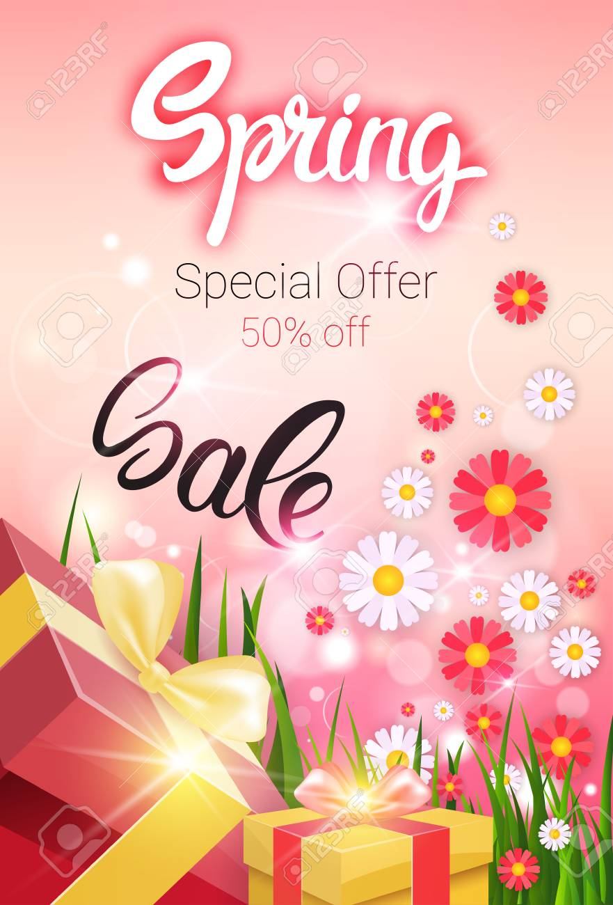 8884aebb8f6 Spring Sale Shopping Special Offer Holiday Banner Flat Vector Illustration  Stock Vector - 73023050