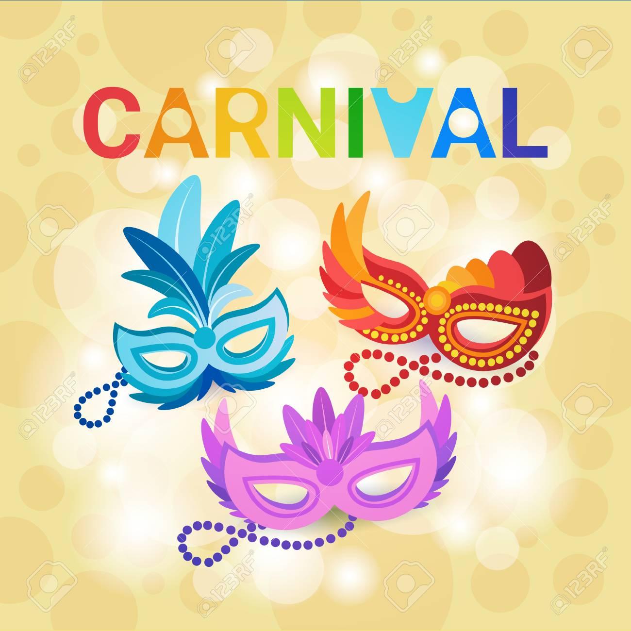 9c3de165a20e Máscara colorida Brasil Carnaval Rio celebración fiesta plana Vector  Illustration