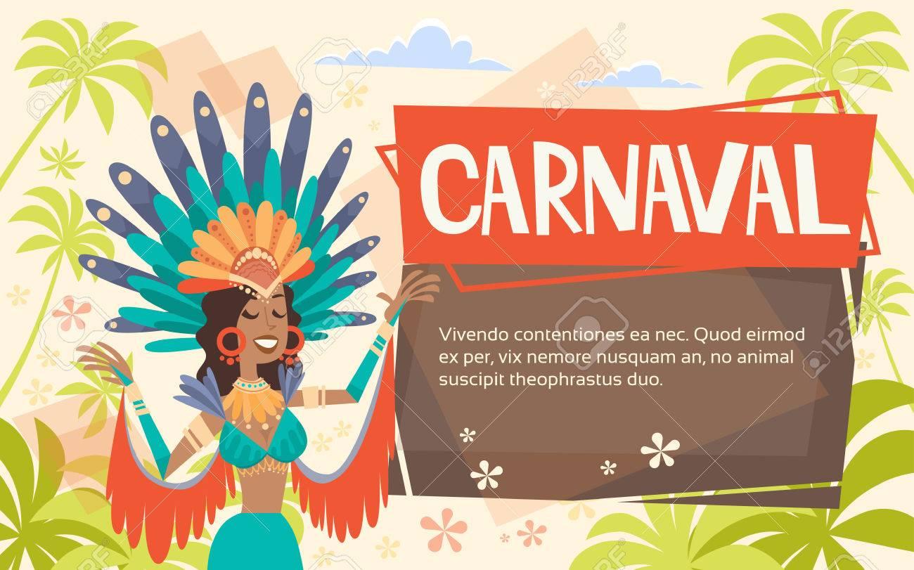 bf8157dac004 Brasil Carnaval traje de mujer latina traje brillante tradicional fiesta de  Río ilustración vectorial plana