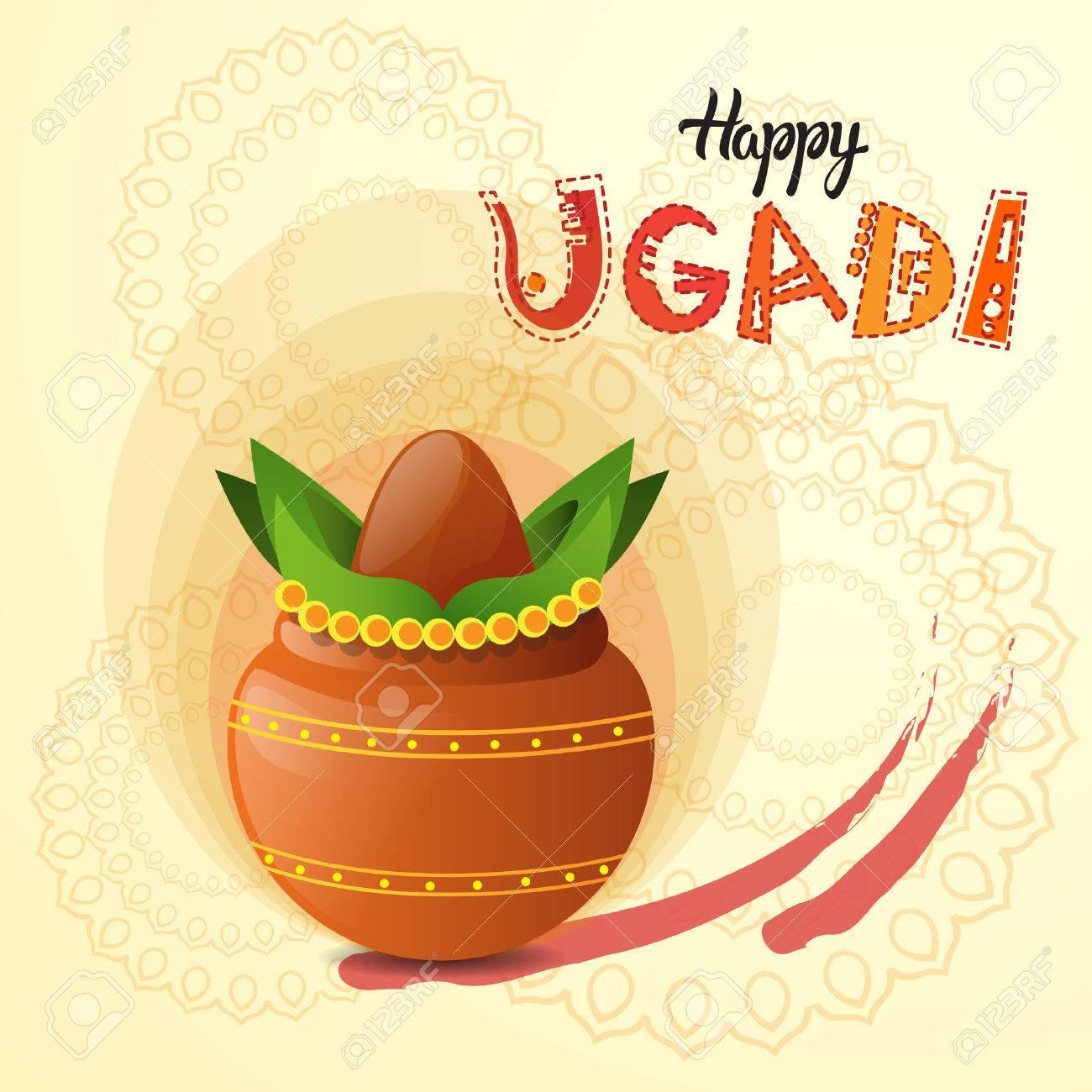 happy ugadi and gudi padwa hindu new year greeting card holiday pot with coconut flat vector