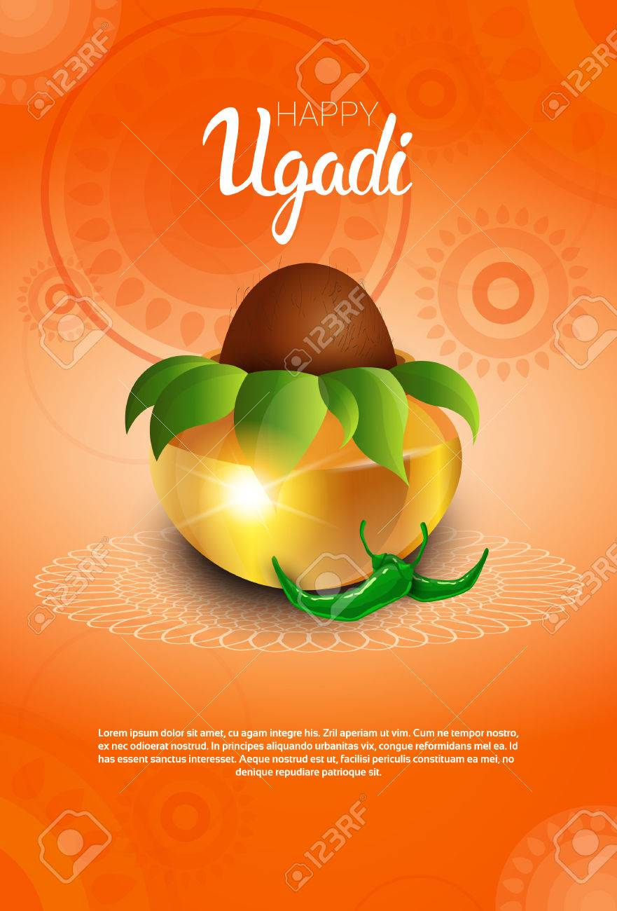 Happy ugadi and gudi padwa hindu new year greeting card holiday happy ugadi and gudi padwa hindu new year greeting card holiday pot with coconut flat vector m4hsunfo
