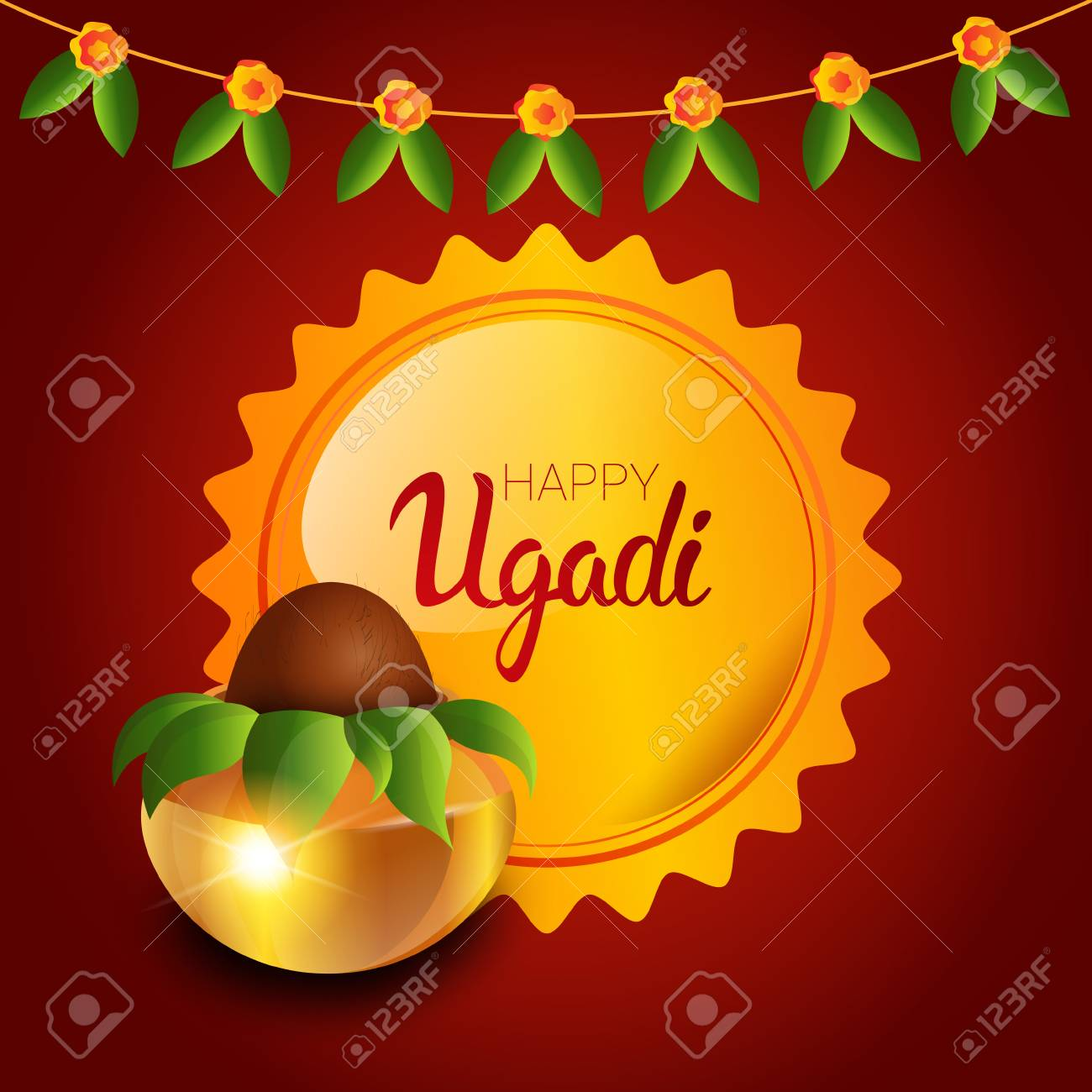 Happy ugadi and gudi padwa hindu new year greeting card holiday happy ugadi and gudi padwa hindu new year greeting card holiday pot with coconut flat vector kristyandbryce Images