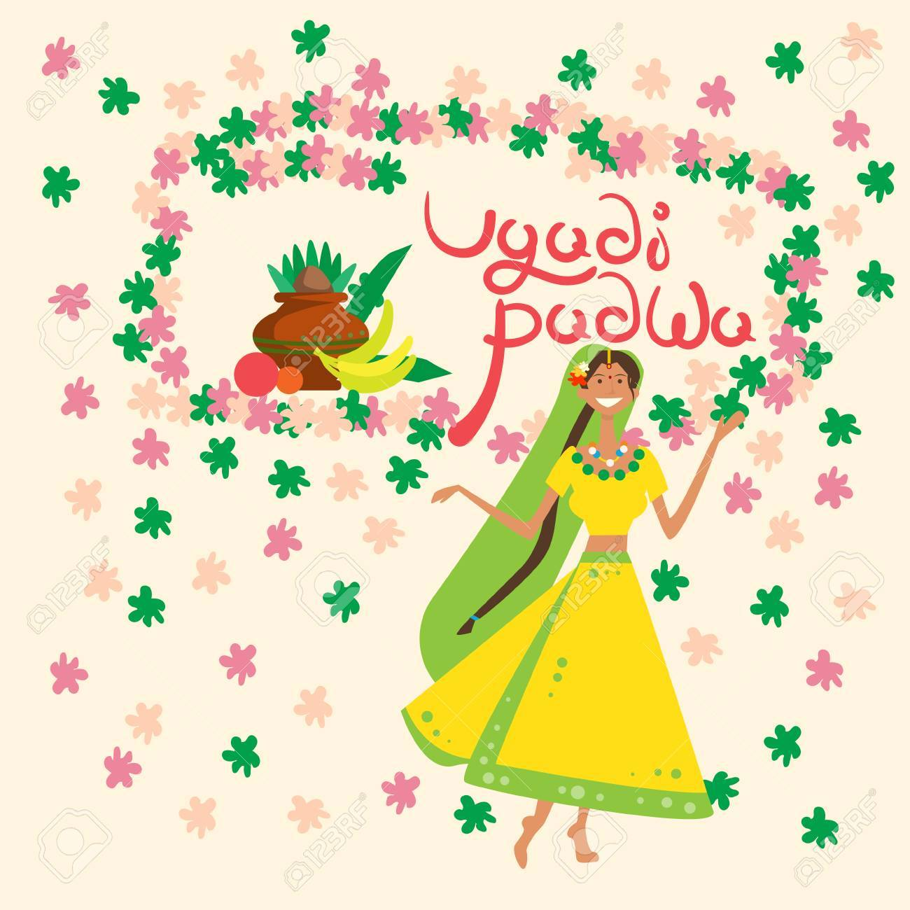 Woman Celebrating Happy Ugadi And Gudi Padwa Hindu New Year Greeting
