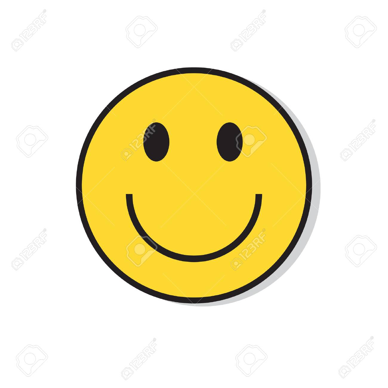 Yellow Smiling Face Positive People Emotion Icon Flat Vector Illustration - 74207120
