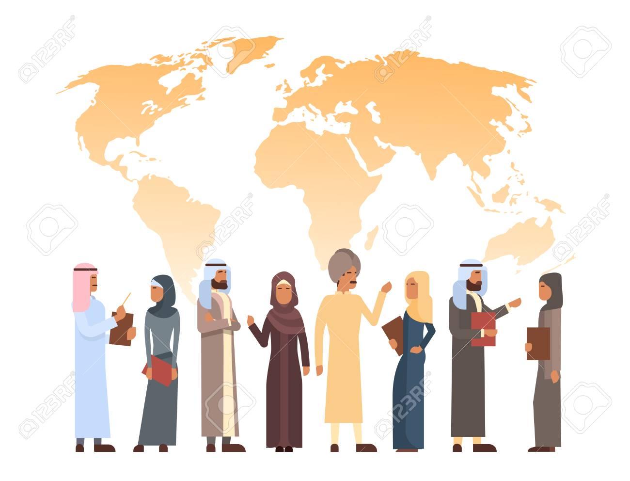 Arab man over world map islam businessman wearing traditional arab man over world map islam businessman wearing traditional clothes flat vector illustration stock vector gumiabroncs Choice Image