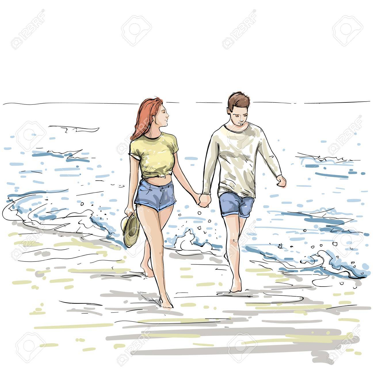 Couple Hold Hands Walking Beach Man And Woman Holiday Sketch