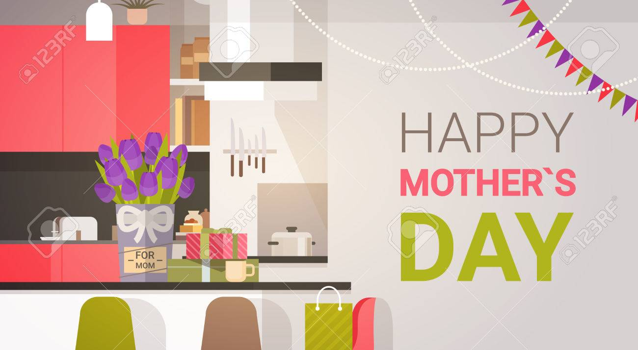 Happy Mother Day Family Kitchen Interior Spring Holiday Greeting