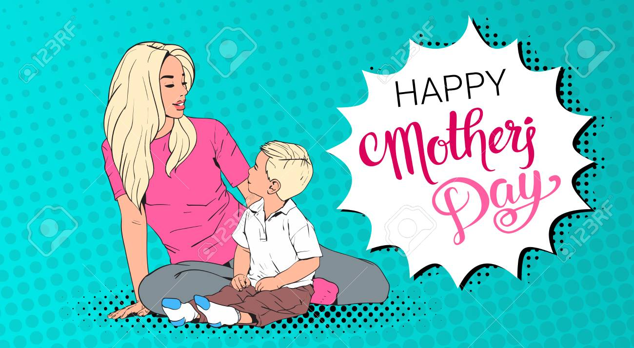 Happy mother day greeting card mom embrace son over pop art happy mother day greeting card mom embrace son over pop art retro pin up background m4hsunfo
