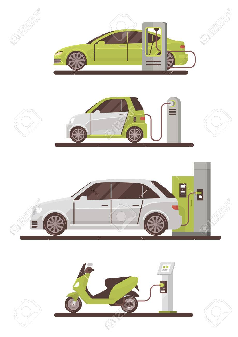 Electrical Cars And Scooters At Charging Station Eco Friendly Vehicle Set Flat Vector Illustration - 77025781