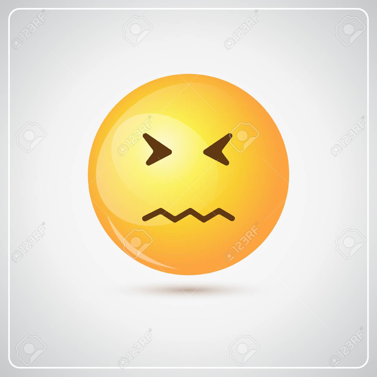 黄色の漫画顔悲しいネガティブな人々 感情アイコン フラット ベクトル図