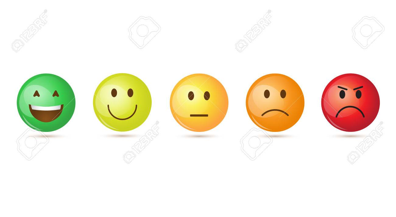 Colorful Smiling Cartoon Face Positive People Emotion Icon Set Vector Illustration - 79018618