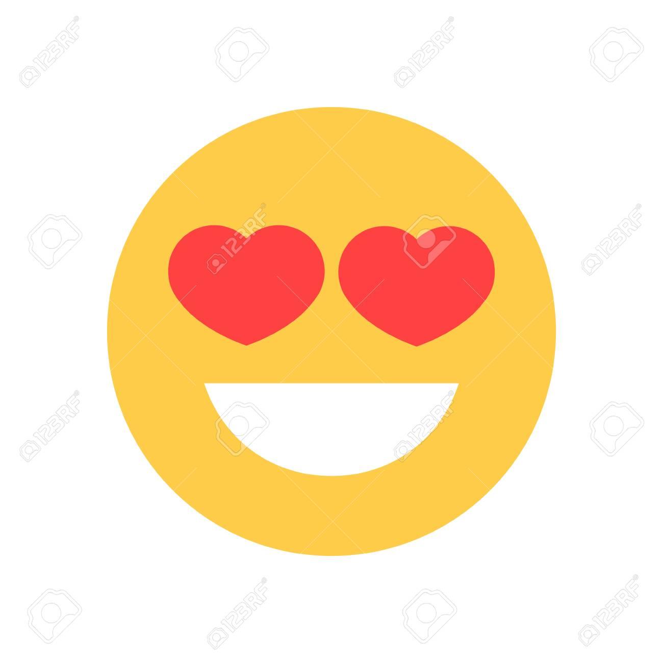 banque dimages jaune souriant visage de dessin anim avec des yeux de forme de coeur emoji humain icne de sentiments icne de - Dessin Avec Emoji