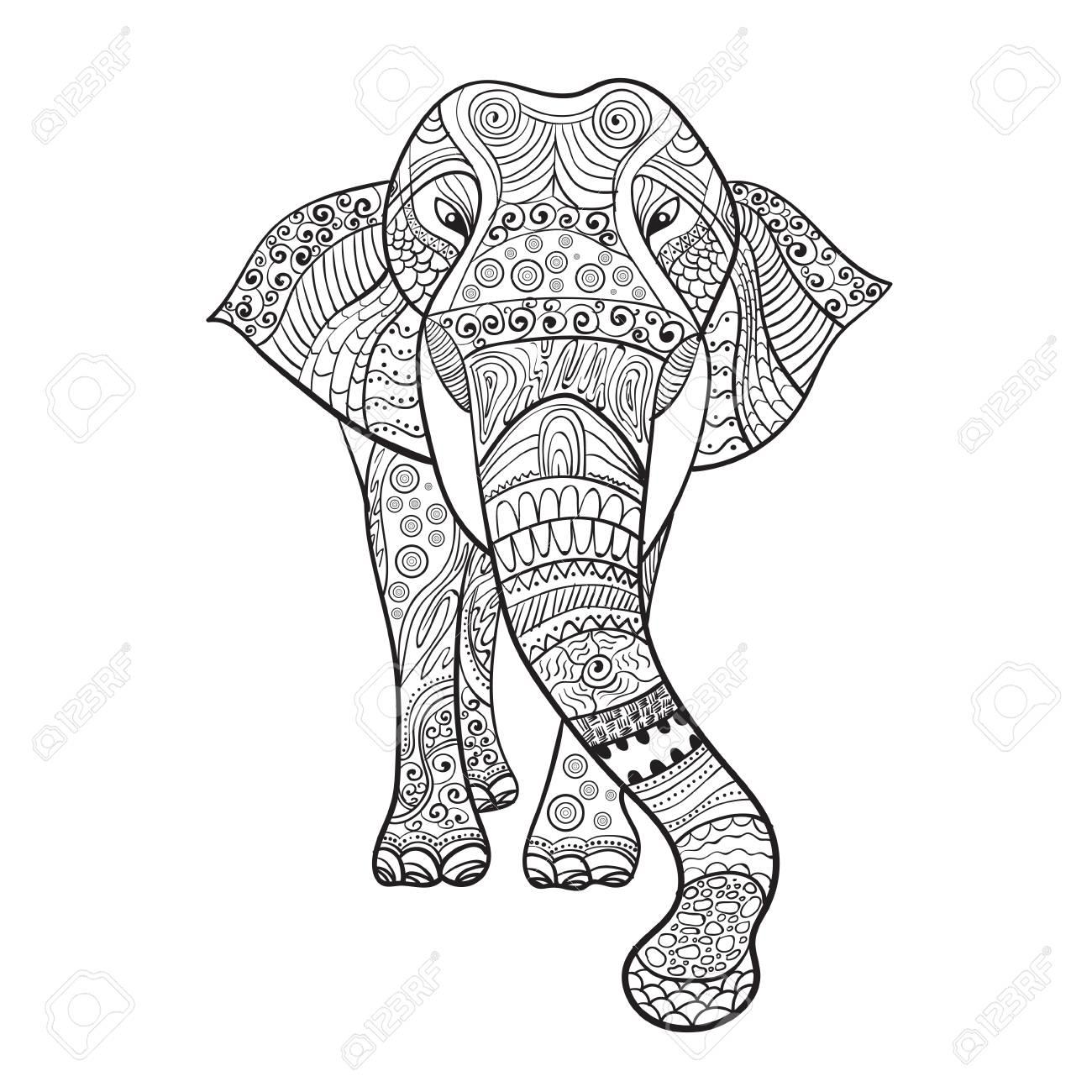 Elaphant Zentangle Animal Para Colorear Ilustración Vectorial Libro ...
