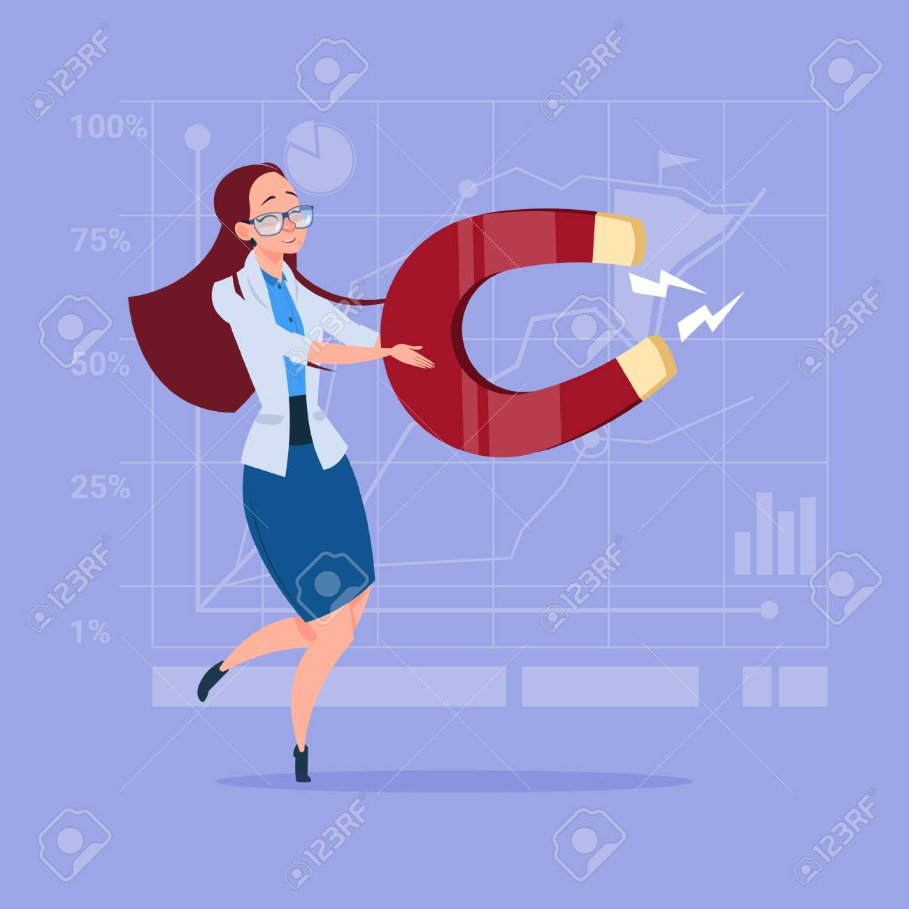 Business Woman Holding Magnet Pulling Success Ideas Concept Royalty Free Cliparts Vectors And Stock Illustration Image 81321417