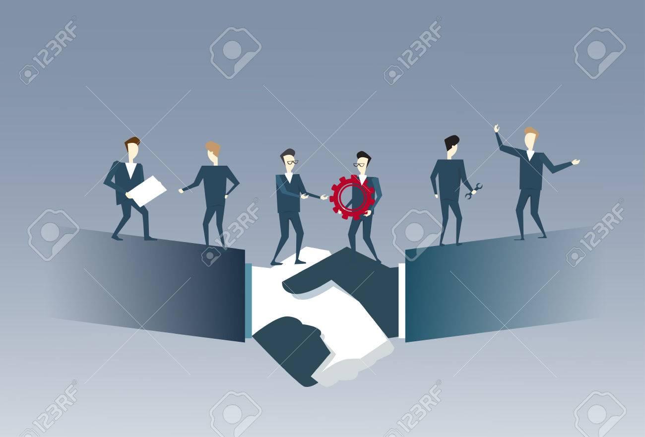 Business People Group Standing On Handshake Businessmen Hands