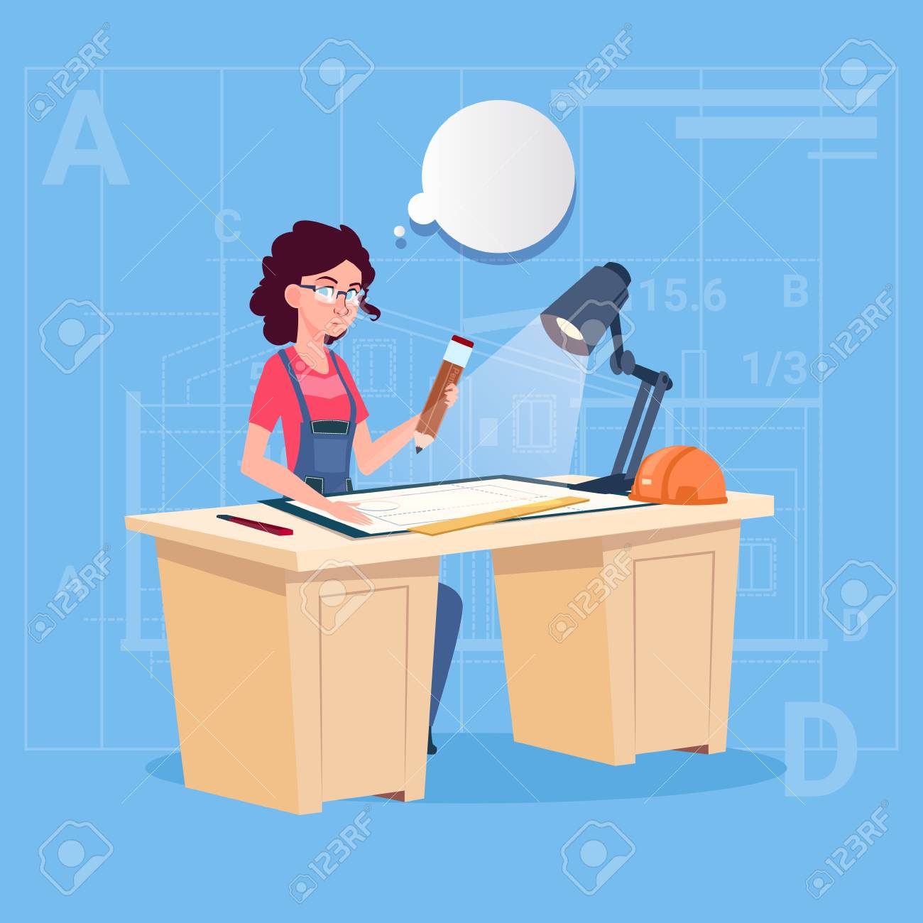 Cartoon woman builder sitting at desk working on blueprint building cartoon woman builder sitting at desk working on blueprint building plan architect engineer flat vector illustration malvernweather Image collections