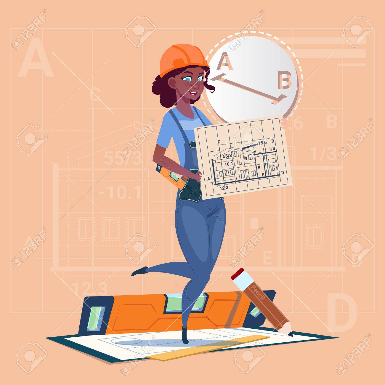 Cartoon builder woman hold plan of building blueprint wearing cartoon builder woman hold plan of building blueprint wearing uniform and helmet mix race construction worker malvernweather Image collections