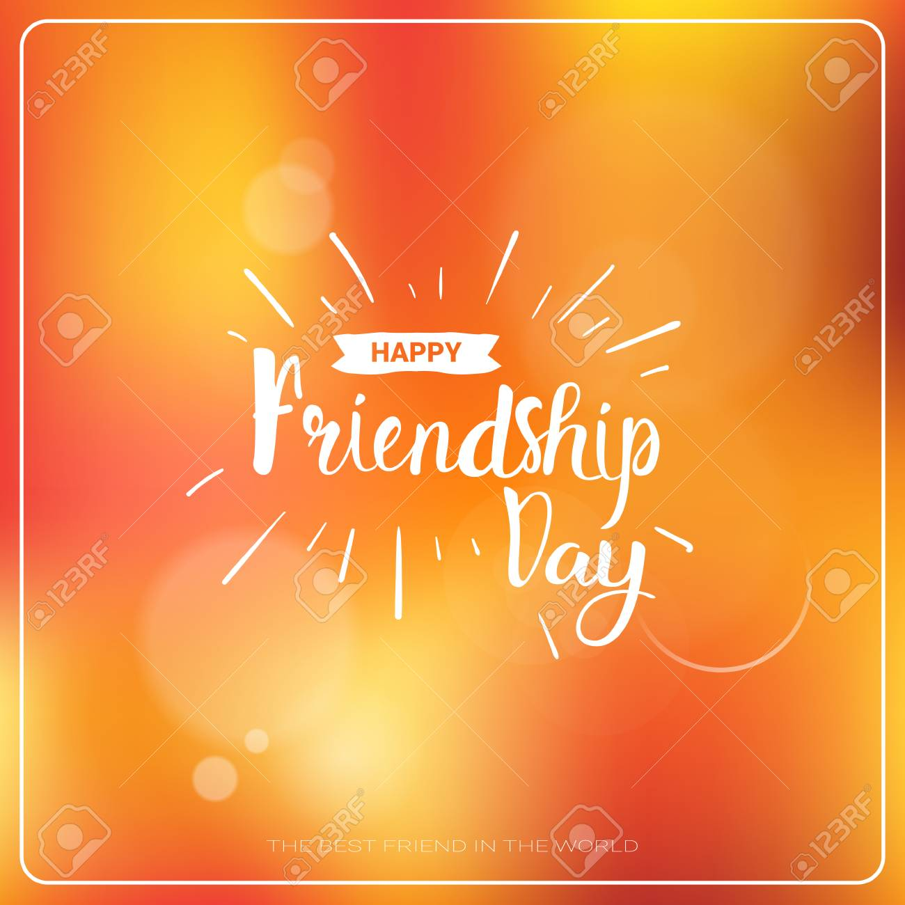 Happy Friendship Day Greeting Card Friends Holiday Banner Flat