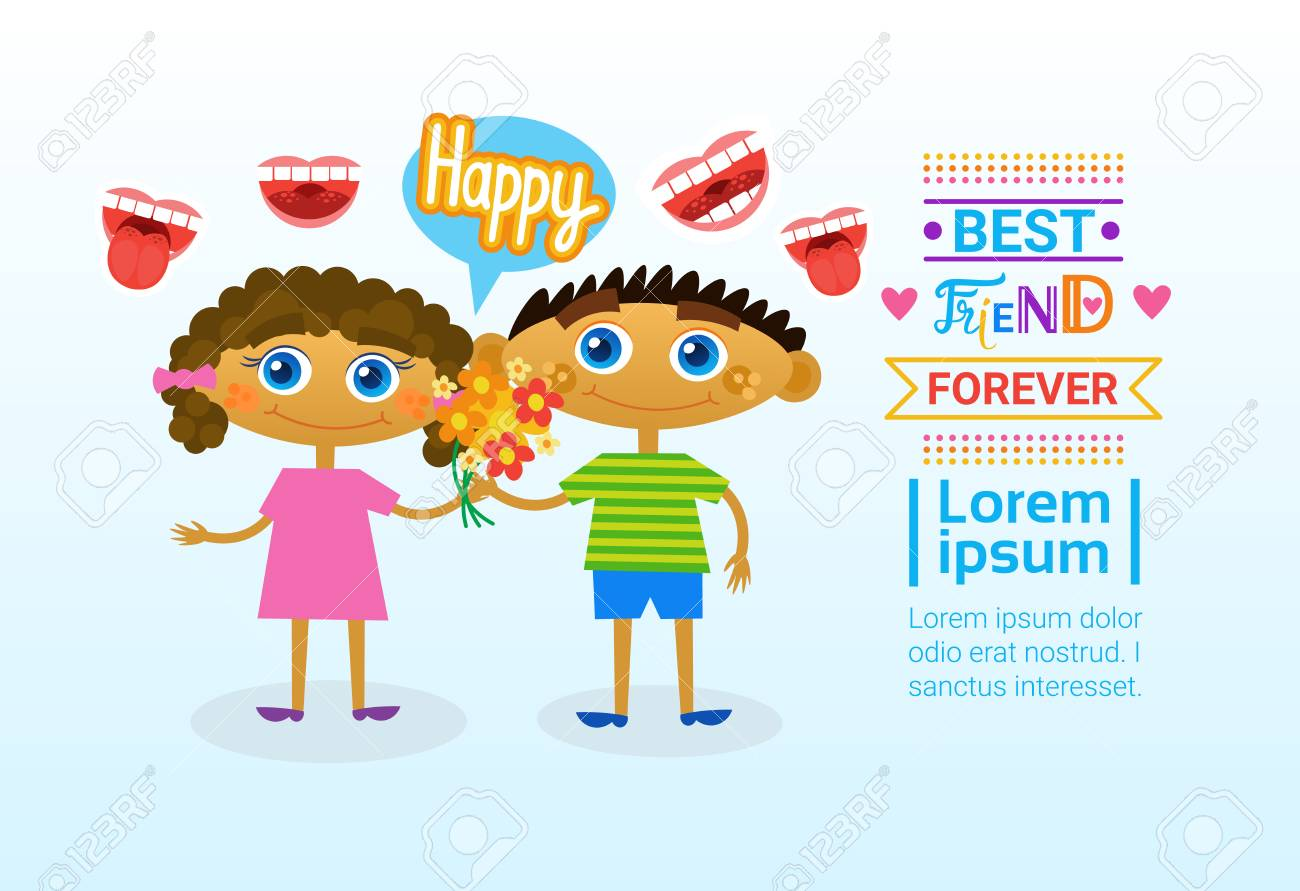 Happy friendship day greeting card cute kids friends holiday happy friendship day greeting card cute kids friends holiday banner vector illustration stock vector 81923381 m4hsunfo