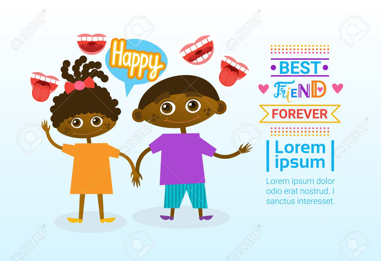 Happy Friendship Day Greeting Card Indian Kids Friends Holiday