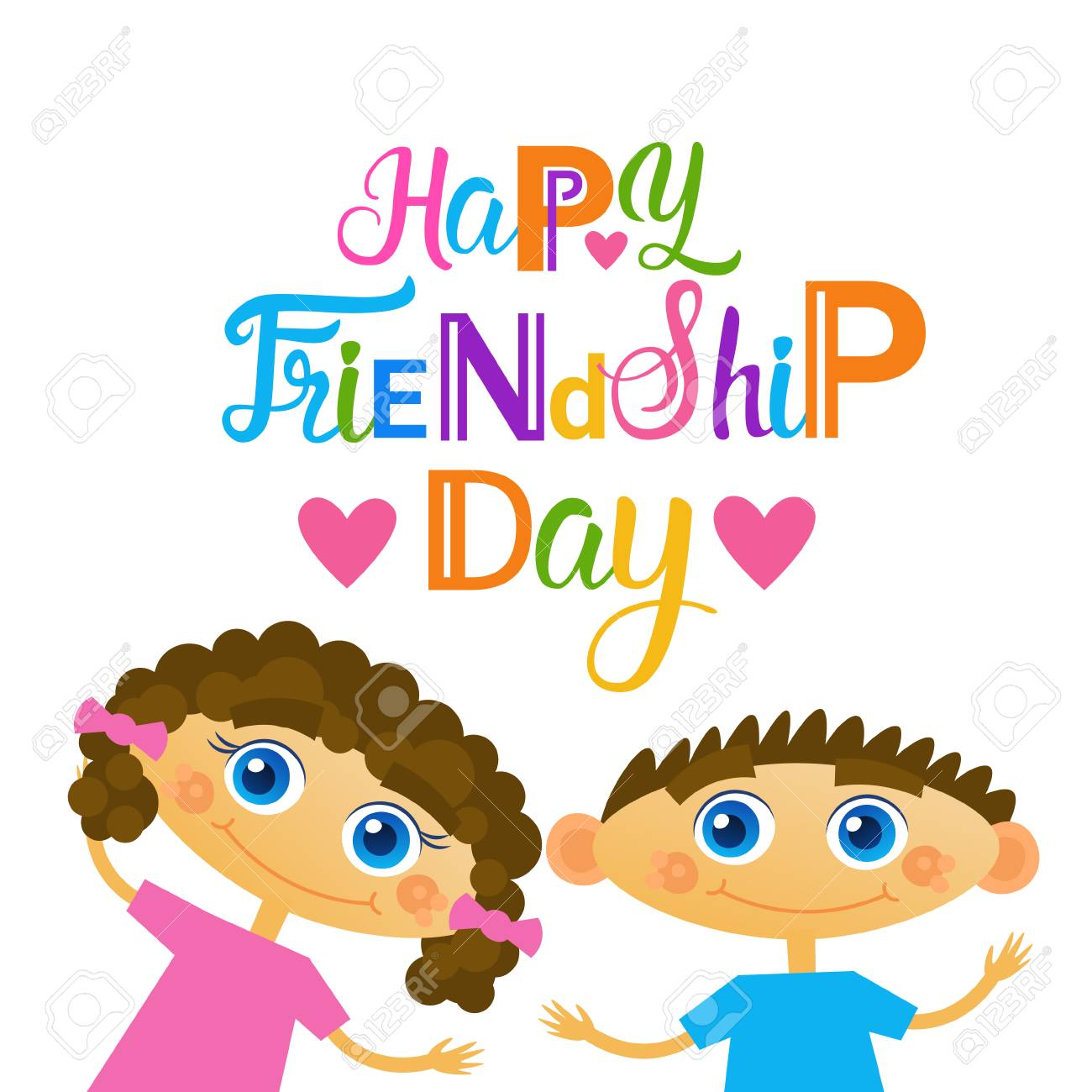 Happy friendship day greeting card friends holiday banner flat happy friendship day greeting card friends holiday banner flat vector illustration stock vector 81923262 m4hsunfo