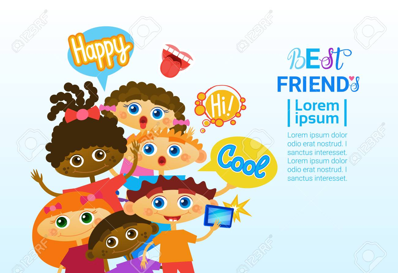 Happy friendship day greeting card mix race kids friends multi happy friendship day greeting card mix race kids friends multi ethnic holiday banner vector illustration stock m4hsunfo