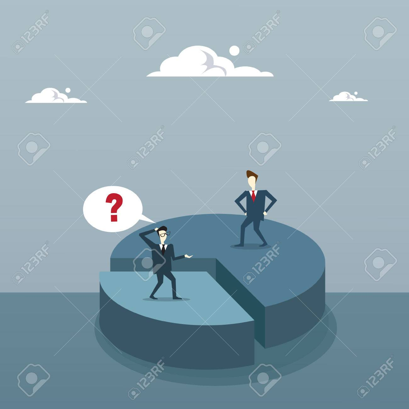 Two Business Men On Pie Diagram Getting Inequality Shares, Businessmen Competition Success Concept Flat Vector Illustration - 81922952