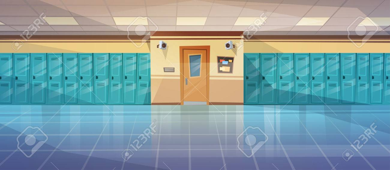 Empty School Corridor Interior With Row Of Lockers Horizontal Banner Flat Vector Illustration - 81922916