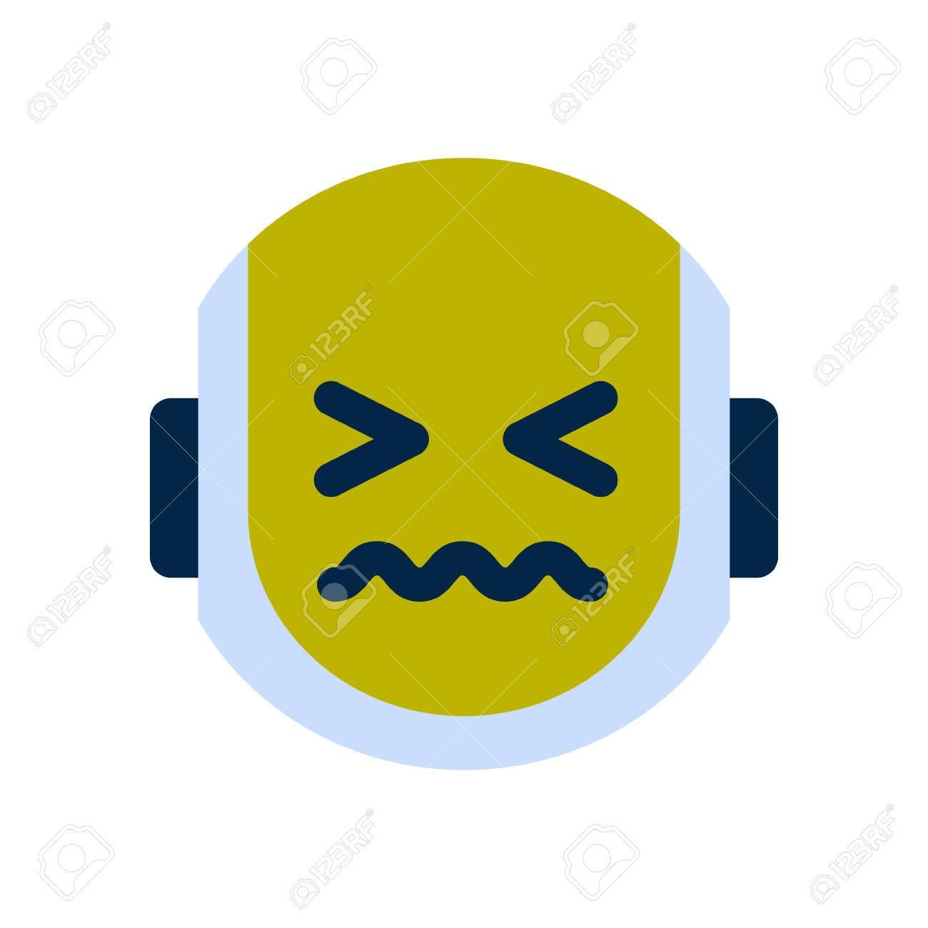 robot face icon sad face sick emotion robotic emoji vector