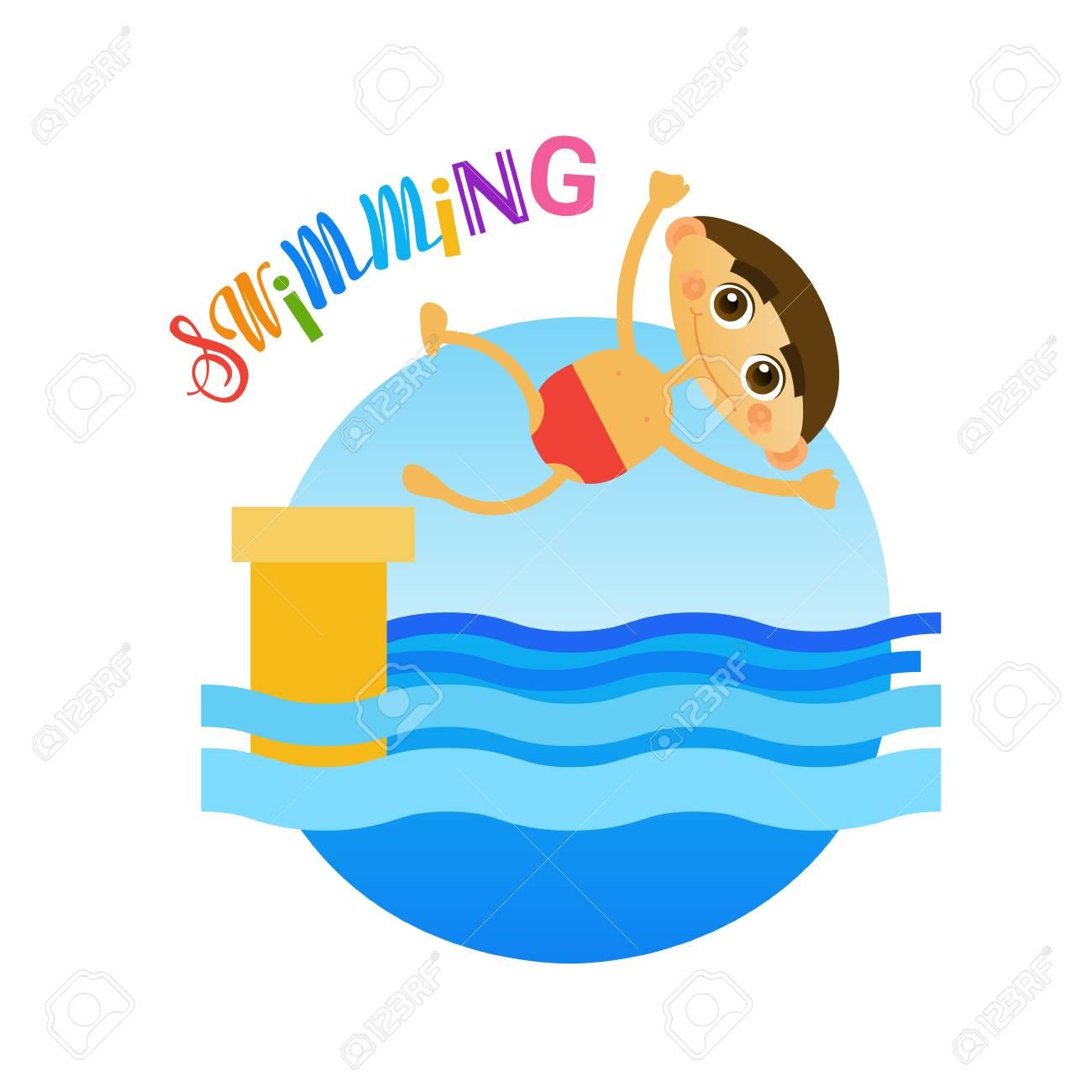 Little Boy Swimming Sport Training Hobby Flat Vector Illustration