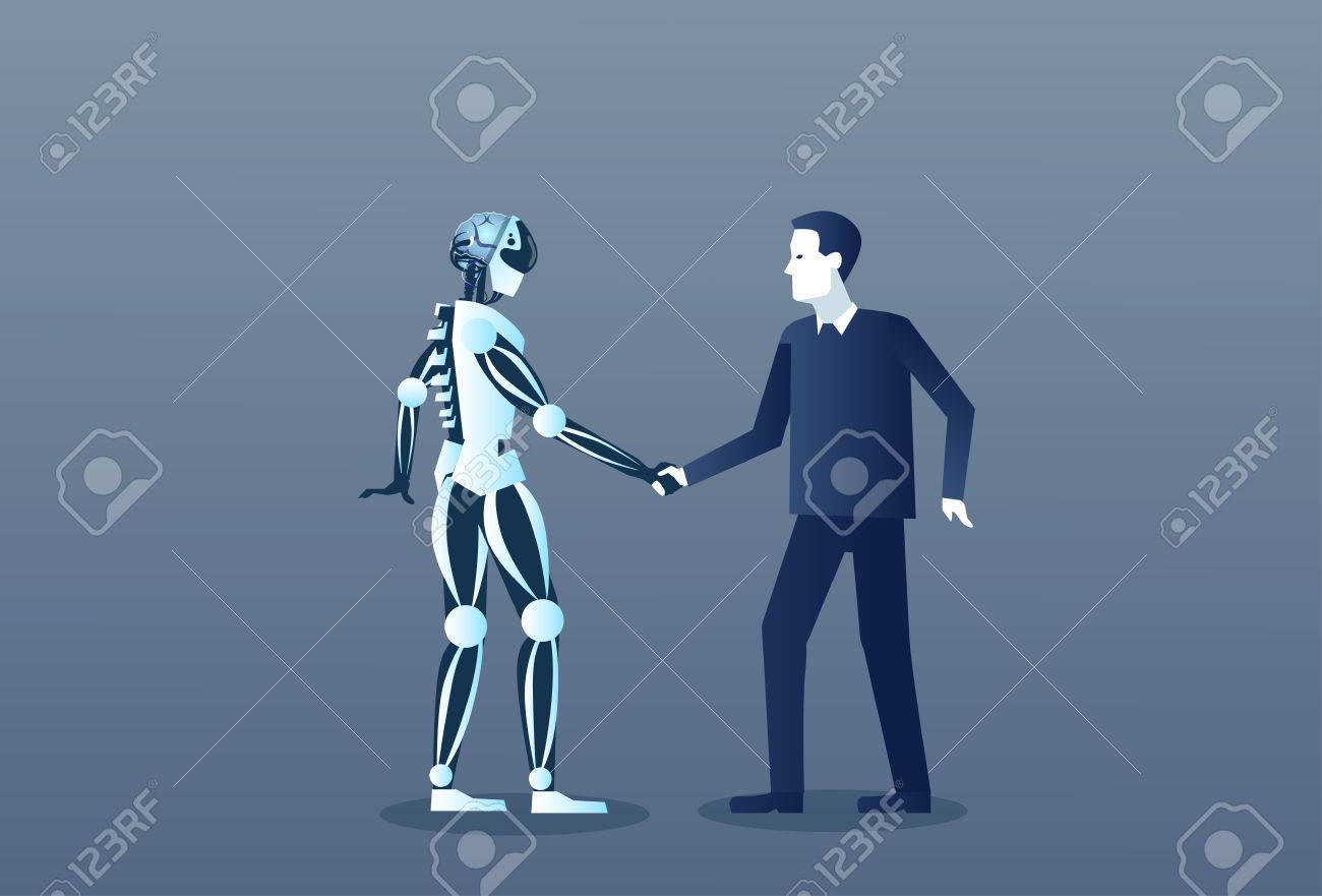 People And Robots Handshake Modern Human And Artificial Intelligence Futuristic Mechanism Technology Vector Illustration - 82405218