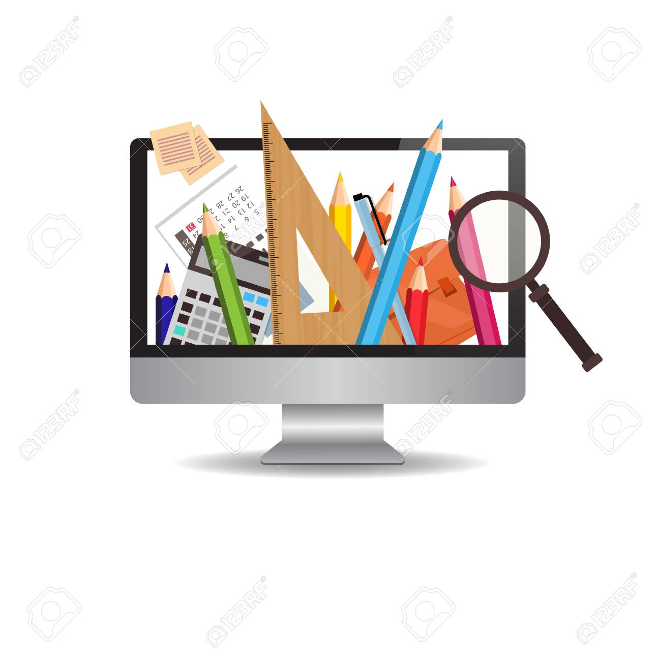 Computer Monitor With Image Of School Writing Supplies On White Royalty Free Cliparts Vectors And Stock Illustration Image 82661656