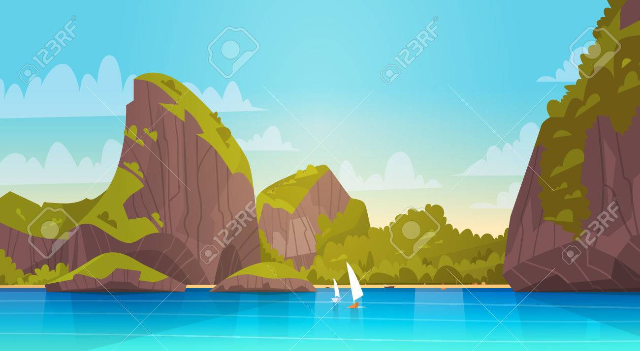 Sea Landscape At Night Beautiful Asian Beach With Mountain Coast Seaside View During Summer Flat
