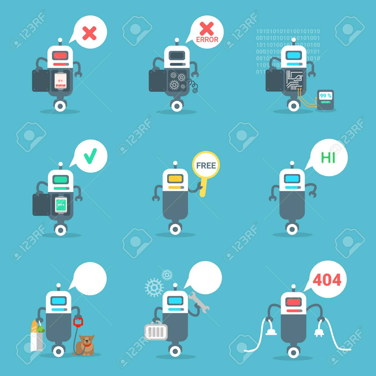 Modern Robots Icons Set Chat Bot Artificial Intelligence Technology Concept Flat Vector Illustration - 83996739