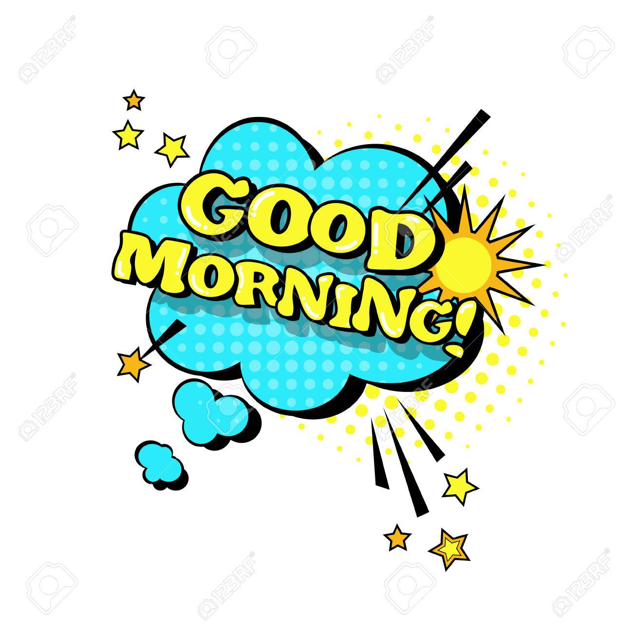 Comic Speech Chat Bubble Pop Art Style Good Morning Expression
