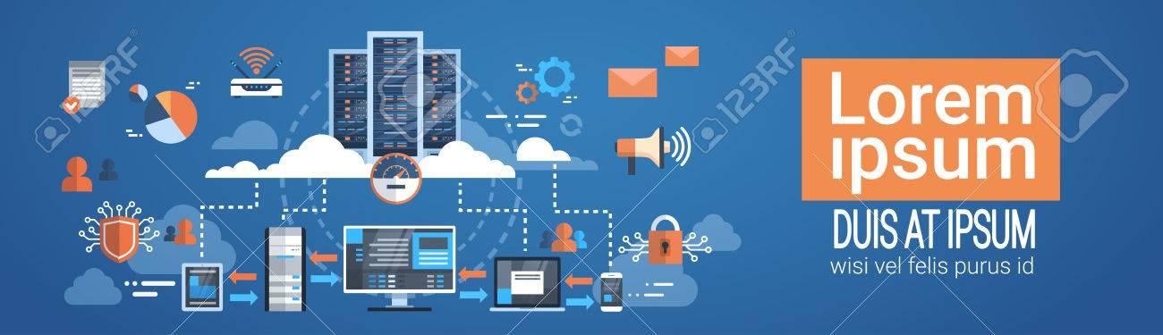 Data Center Cloud Computer Connection Hosting Server Database Synchronize Technology Vector Illustration - 84043080