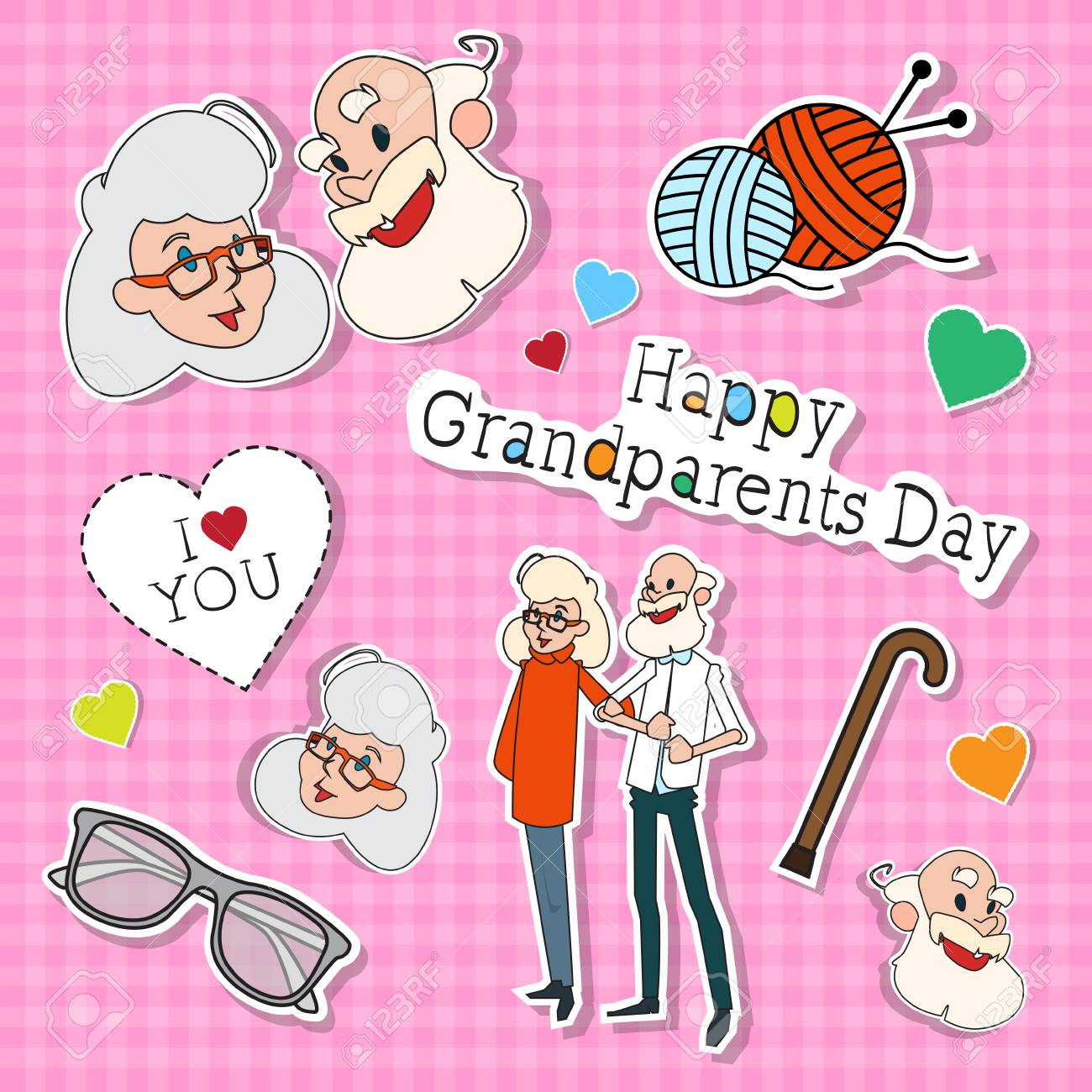 Happy Grandparents Day Greeting Card Colorful Banner Pop Art