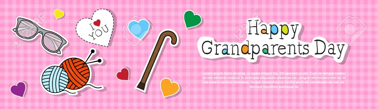 Happy grandparents day greeting card colorful banner pop art happy grandparents day greeting card colorful banner pop art style vector illustration stock vector 84044629 m4hsunfo
