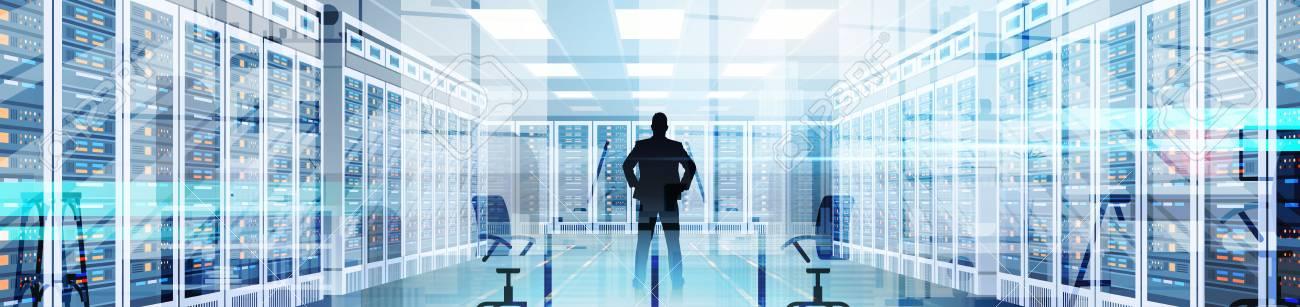 Silhouette Man In Data Center Room Hosting Server Computer Information Database Flat Vector Illustration. - 84587953